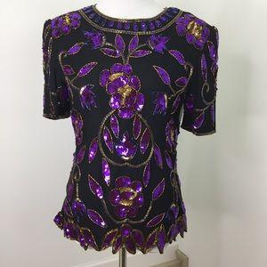 Vintage Stenag Purple Black Sequins Beaded Blouse